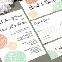 Classic Flowers | Vintage Wedding Invitation Suite by RunkPock Designs | Script Calligraphy Floral Succulent Invitation | shown in peach, mint and coral