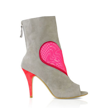 Grey Fuchsia Mesh Heart Ankle Boot by DEEVA