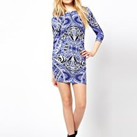 River Island Tribal Print Bodycon Dress at asos.com
