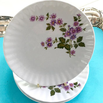 "4 Vintage Dessert/ Salad Plates, 7 1/2"" Purple Wedding, Purple Plates, Bridal Shower Tea, Baby Shower Tea, Princess Party, Shabby Chic Decor"