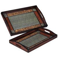 Set of 2 Brown and Black Checked Serving Trays - #2N554 | LampsPlus.com
