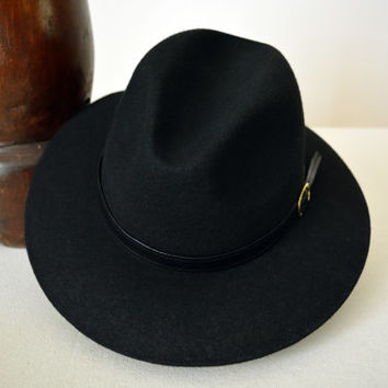 Black Safari Fedora - Wide Brim Merino Wool Felt Fedora / Indiana Jones Hat - Men Women