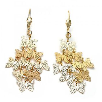Gold Layered 5.064.003 Chandelier Earring, Butterfly and Filigree Design, Polished Finish, Gold Tone