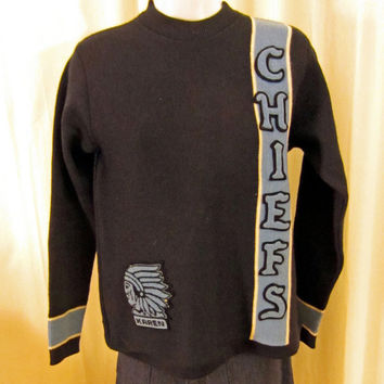 Vintage Super Rare 60s VARSITY SEATTLE CHIEFS Native American Stitched Heavy Navy Blue Lasley Knitting Women Small Wool Sweater