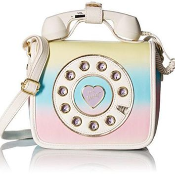 DCCK8BW BETSEY JOHNSON MINI PHONE CROSSBODY RAINBOW