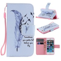 For Coque iPhone 5S Case Cover New Paint Print Flip PU Leather Wallet Stand Cases for iPhone 5 5S 6 6S 7 6/6S/7 Plus Wrist Strap