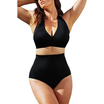 Solid Black High-Waisted Bikini Swimsuit LAVELIQ