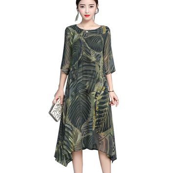 Vintage harajuku summer silk chiffon dress women 2018 new leaf floral print long dresses female irregular hem large size vestido