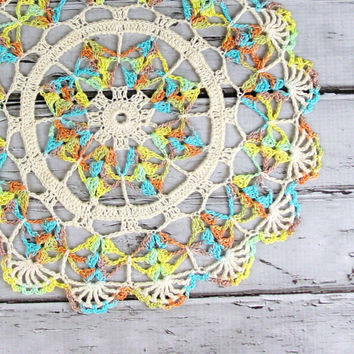 Crocheted Cream Multi Colored Variegated by ronisboutique on Zibbet