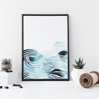 Waves watercolor sea pattern art print, watercolor zen art print, nautical art print, nursery art decor, home wall art, modern art poster