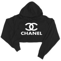 Chanel Top Cropped Hooded Sweatshirt