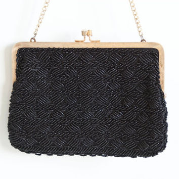 1960s Walborg Richere Black and Gold Beaded Evening Clutch with Chain, Vintage Beaded Purse Convertible Handbag Made in Hong Kong