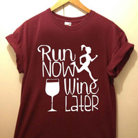 Run Now Wine Later tshirt for merry christmas and helloween