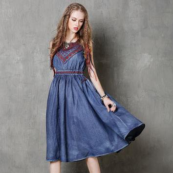 Women Dress 2017 Summer Hobo New Denim Dresses Slash Collar Embroidery Elegant Sundress Casual Dresses Women Plus Size Vestidos