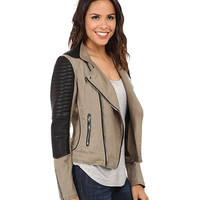 Blank NYC Two-Tone Fabric w/ Vegan Leather Moto Jacket