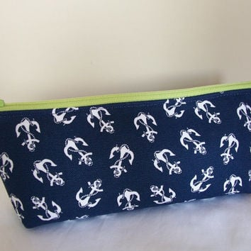 Navy Anchors Waterproof Lining Lime Green Zippered Cosmetic Make Up Bag/Pouch/Accessory/Pencil/Gadget Case/Beach Pool/Bridesmaid Gift
