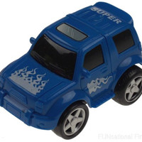 Blue 4WD Super Truck Jeep Flames Pull Back Toy Car Lot 5 Party Favor Moves Runs