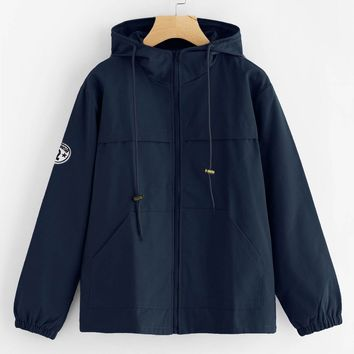 Mindee Patch Detail Hooded Anorak