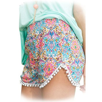2016 Summer Ladies Loose Boho Shorts Women Short Pants Femme Sexy Mini Fitness Beach Cotton Crochet Lace Print flower Shorts