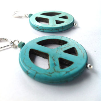 Turquoise Hippie Boho Peace Sign Earrings