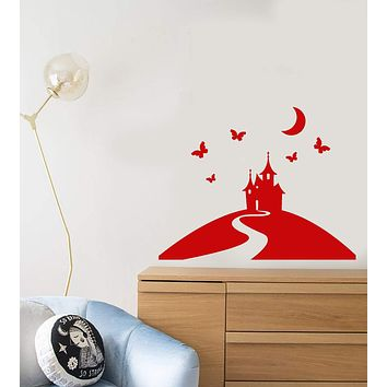 Vinyl Wall Decal Princess Castle Fairy Tale Girl's Room Decor Stickers (2837ig)