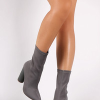 Elastane Pointy Toe Round Heel Booties