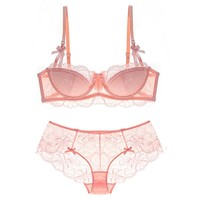 1/2 cup full lace thin cup sexy push up brassiere with pad transparent panties dress women underwear set embroidery intimates