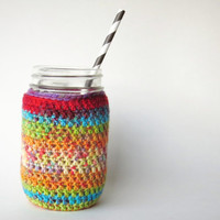 Mason Jar Cozy Crochet Jar Cover in Rainbow red orange blue purple green