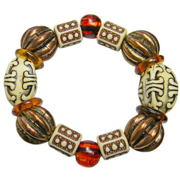 Unique Ethnic Style Bracelet Decorative Faux Ivory Copper Melon Beads Stretch