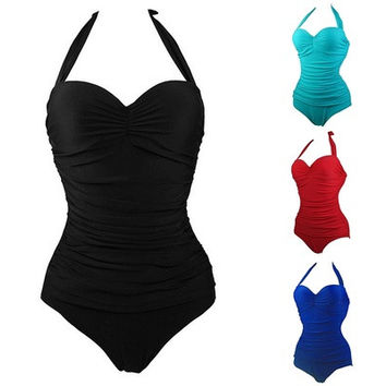 Solid Color One-piece High Waist Bathing Suit, Fashionable and Sexy Pure Backless Ladies Swimwear ZFS [9221657988]