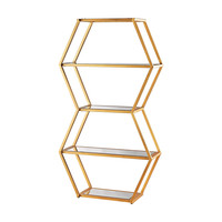 Vanguard Book Shelf In Gold Leaf And Clear Mirror Gold Leaf,Clear
