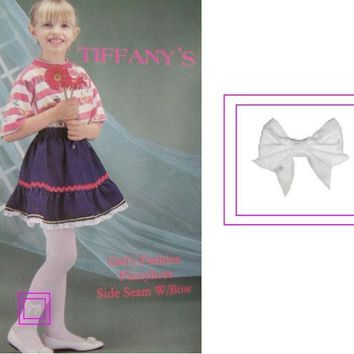 Girl's White Bow Ornament Tights - Size Large