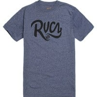 RVCA Grip Script T-Shirt - Mens Tee - Blue