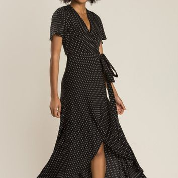 Kinsley Black Polka Dot Wrap Dress