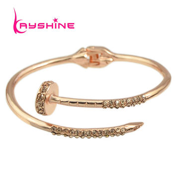 Steampunk Jewelry Rose Gold Color Bracelet Rhinestone Gold-Color Silver Color Bracelet Open Cuff Bracelet & Bangles for Women