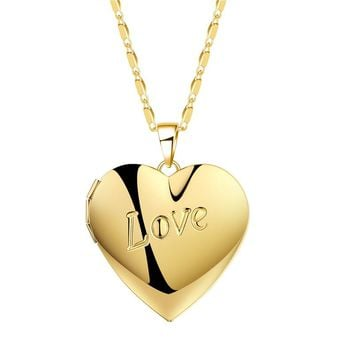 BTSETS Fashion Photo Frame Memory Locket Pendant Necklace Silver/Gold Color Collier Femme Love Heart Necklace Women Jewelry