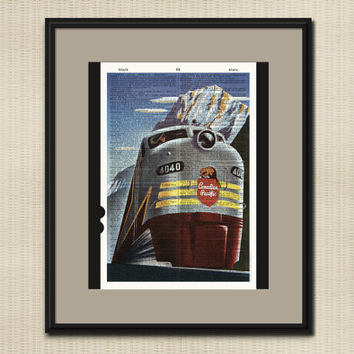 VINTAGE RAILROAD ART Dictonary Art Print Canadian Pacific Train Retro Travel Poster Locomotive Railroad Advertising Upcycled Wall Art