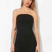 Fable Paneled Crochet Strapless Dress