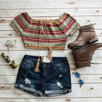 Multi Striped Crochet Crop Top