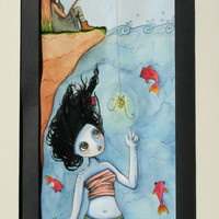 How to CATCH MERMAIDS, original and unique acrylic and water colour paintng of a girl fishing for a mermaid