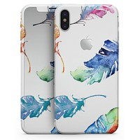 Colorful Watercolor Feathers - iPhone X Skin-Kit