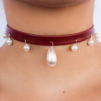 Mini Pearl Ball Teardrop Leather Choker