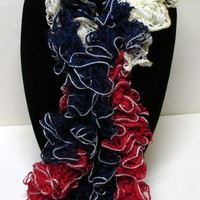 Red White and Blue Ruffle Sashay Scarf Truffle Scarf 124 inches