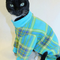 CoolCats Turquoise and Lime Plaid Fleece Cat Pajamas