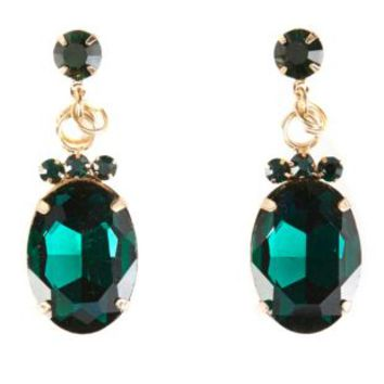 Faceted Stone Drop Earrings by Charlotte Russe - Green