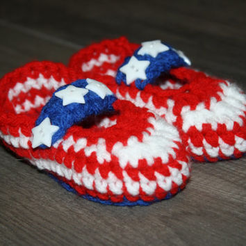 3-6 Mo Red White and Blue American Baby Booties- Photo Prop | New Mom | New Baby | USA Made | Ready to SHIP