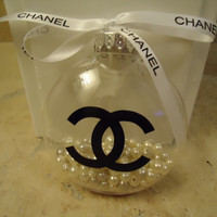 Chanel inspired Christmas tree ornament with pearls and authentic Chanel ribbon
