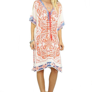 DEL MAR OPEN BACK KAFTAN DRESS - IVORY + CORAL