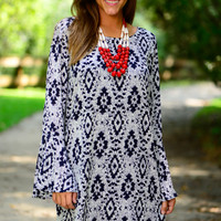 Aztec Frenzy Dress, Navy