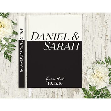 Wedding Guest Book, Hardcover, Black and Ivory, Choice of Colors and Sizes
